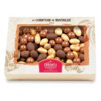 Image Coffret turbinés 300 gr amandes crème de nougat  perles caramel et noisettes Gianduja