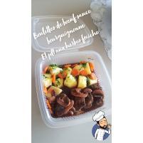Image Boulettes de boeuf sauce bourguignonne et pomme de terre aux herbes fraiche