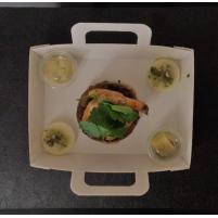Image ENTREE Tête de Veau laquée, Crevette sauvage  au Piment d'Espelette, Gribiche d'Avocat.