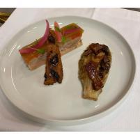 Image Terrine de Jarrets de Veau au Foie gras, Sucrine braisée à la Bière Brune.